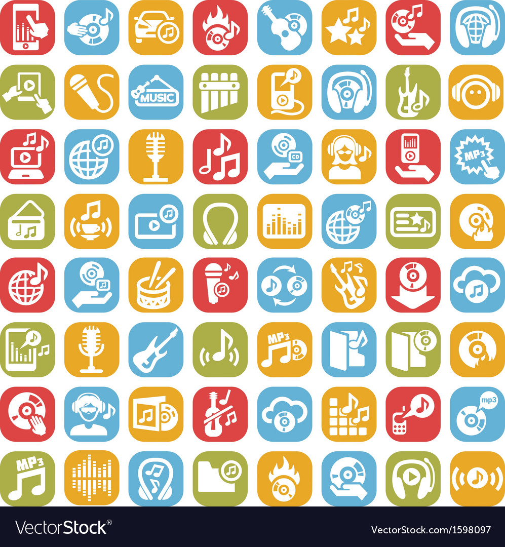 Big music icons set vector | Price: 1 Credit (USD $1)