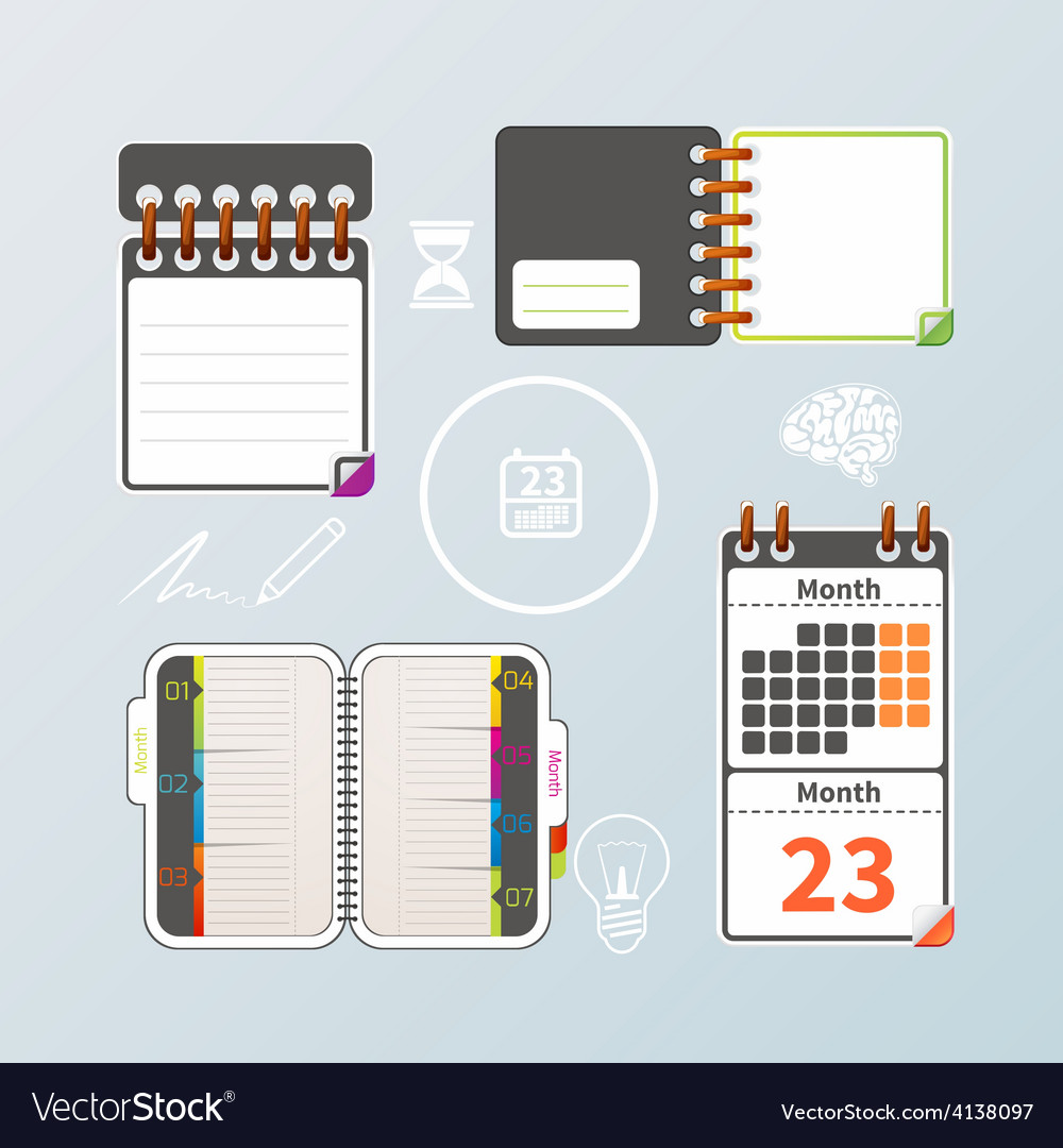 Colorful notebook and calendar set vector | Price: 3 Credit (USD $3)