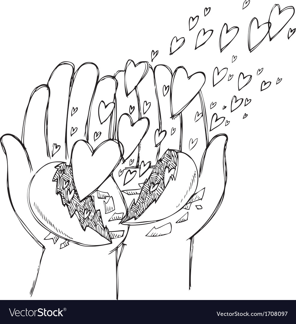 Hands full of flying hearts vector | Price: 1 Credit (USD $1)