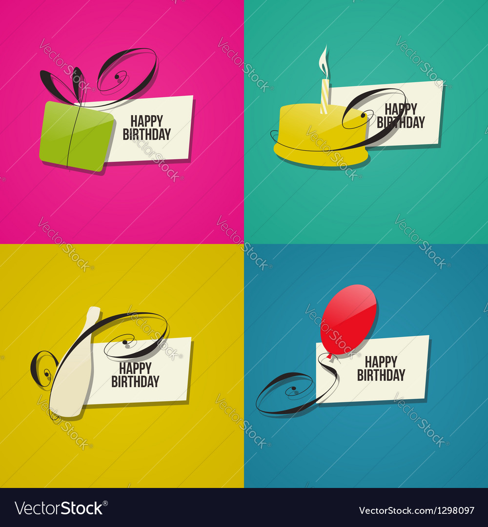 Happy birthday greeting cards vector | Price: 1 Credit (USD $1)