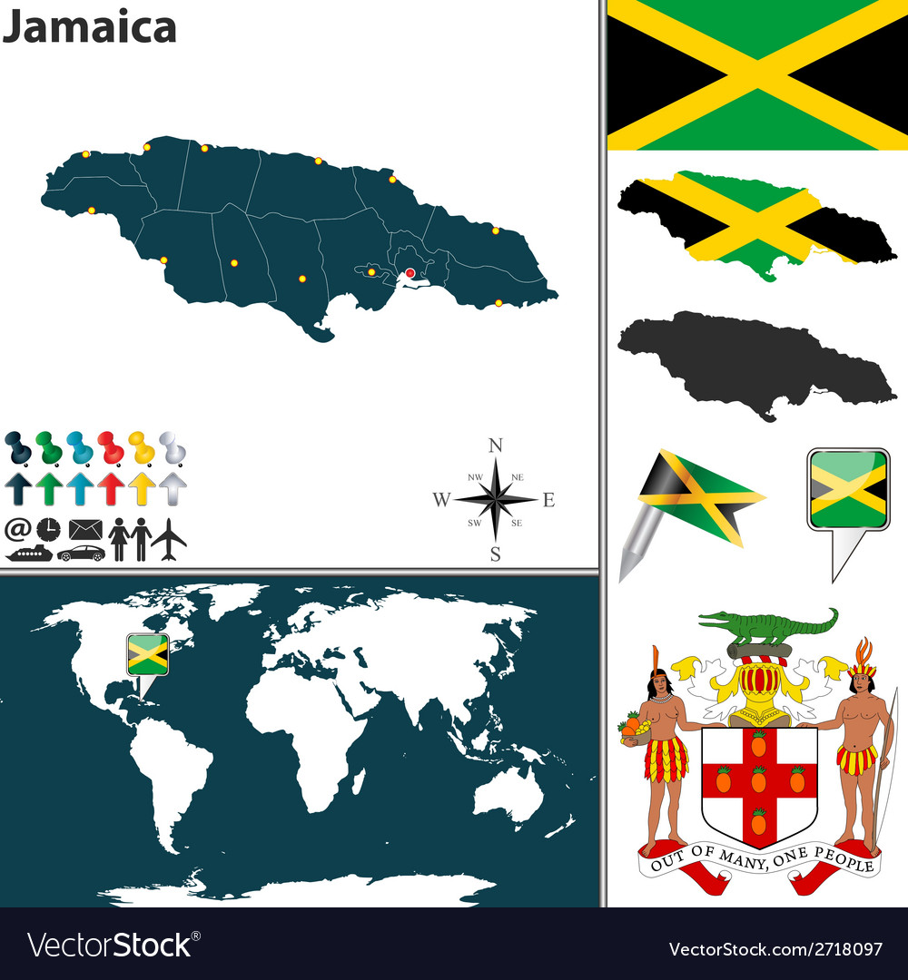 Jamaica map vector | Price: 1 Credit (USD $1)