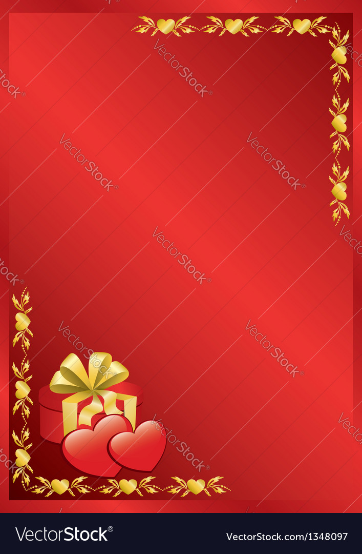Red romantic frame with golden decor vector | Price: 1 Credit (USD $1)