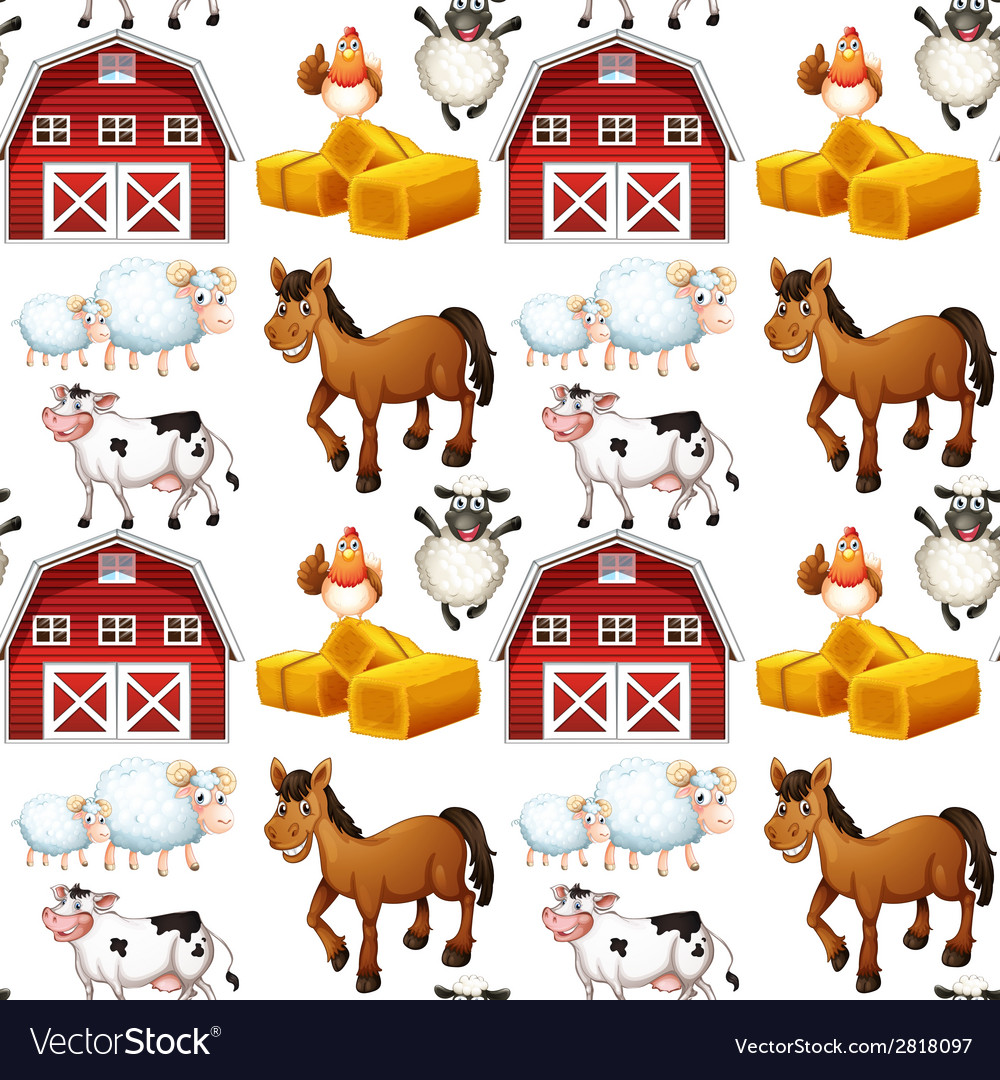 Seamless farm vector | Price: 3 Credit (USD $3)