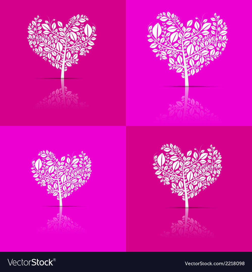 Abstract heart-shaped tree set on violet and pink vector | Price: 1 Credit (USD $1)