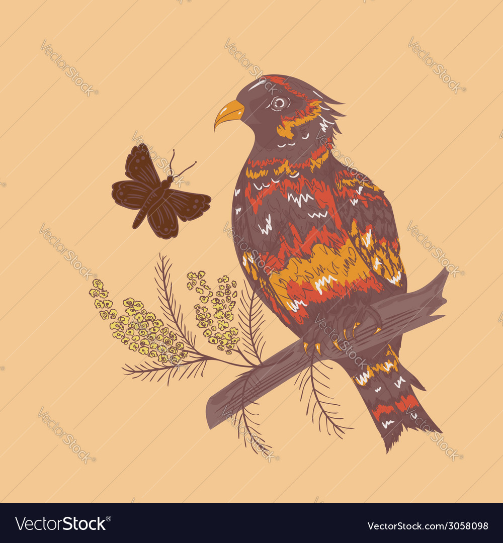 Bird with flowers2 vector | Price: 1 Credit (USD $1)