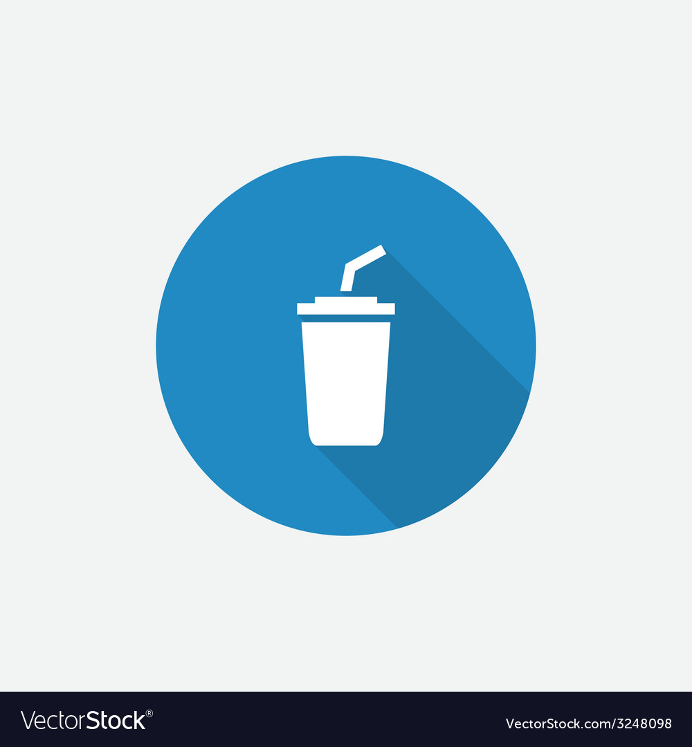 Coffee flat blue simple icon with long shadow vector | Price: 1 Credit (USD $1)