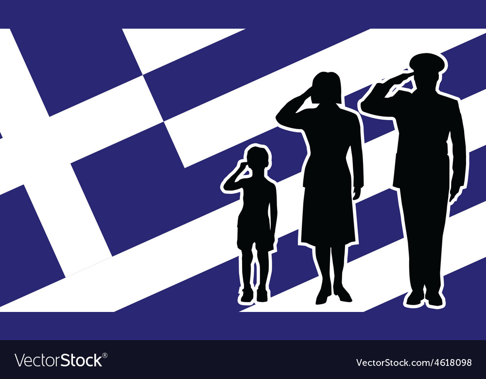 Greece soldier family salute vector | Price: 1 Credit (USD $1)
