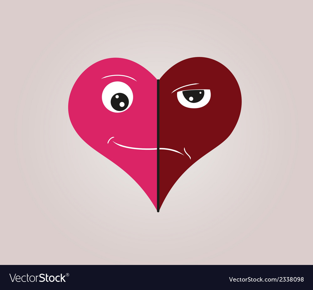 Heart with two faces vector | Price: 1 Credit (USD $1)