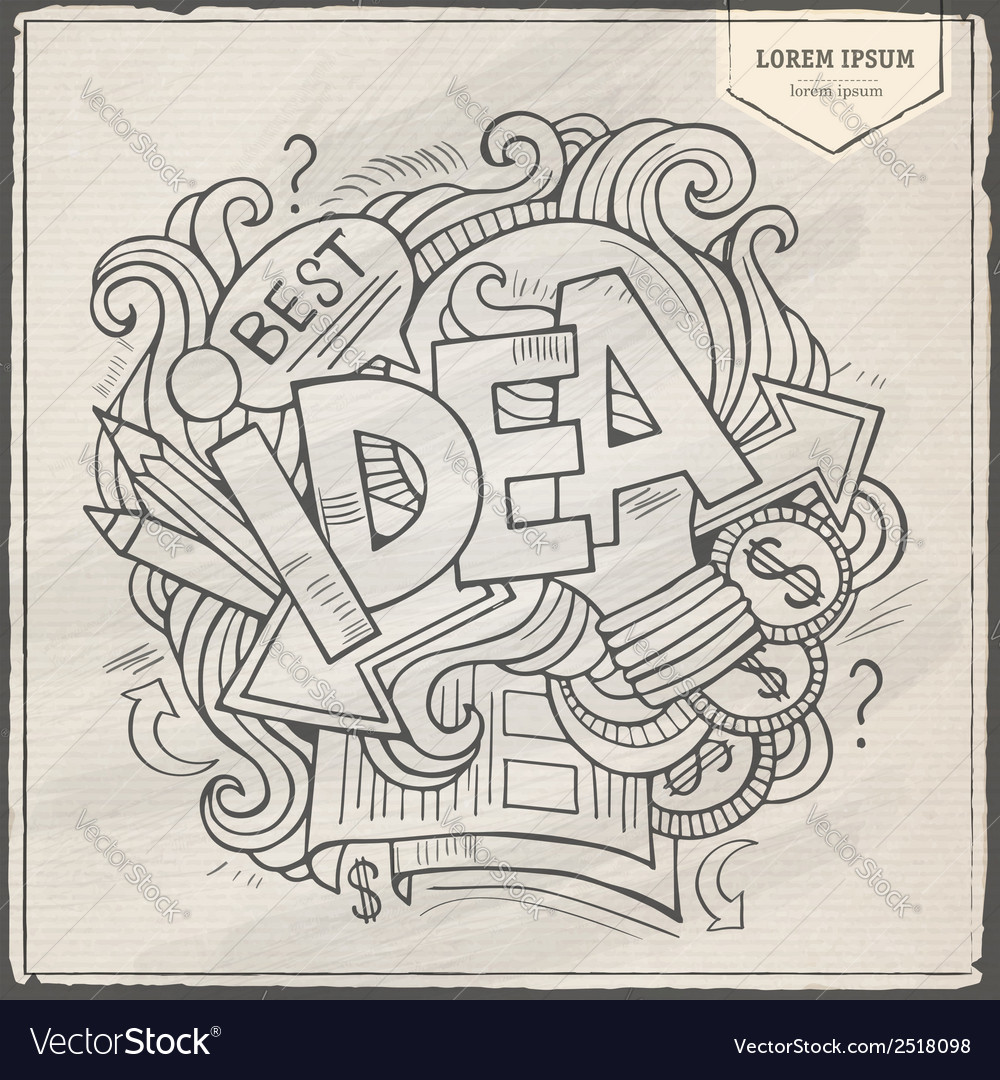 Idea hand lettering and doodles elements vector | Price: 1 Credit (USD $1)