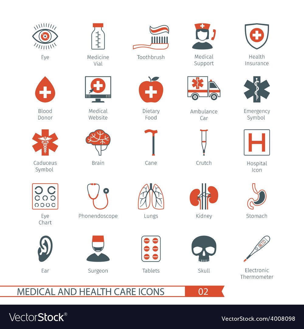 Medical and health care icons set 02 vector | Price: 1 Credit (USD $1)
