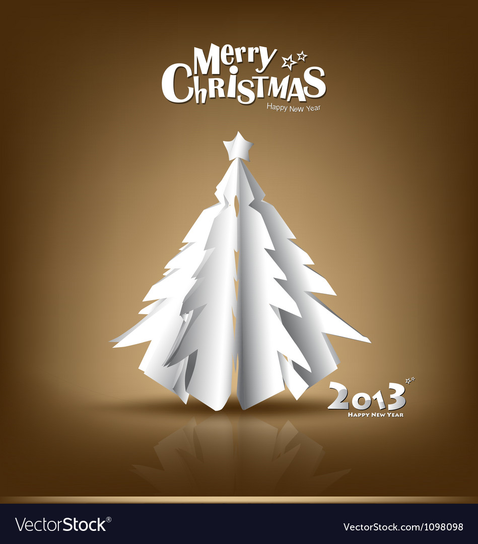 Merry christmas postcard with origami xmas tree vector | Price: 1 Credit (USD $1)