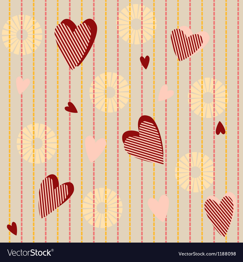 Seamless pattern with striped hearts vector | Price: 1 Credit (USD $1)