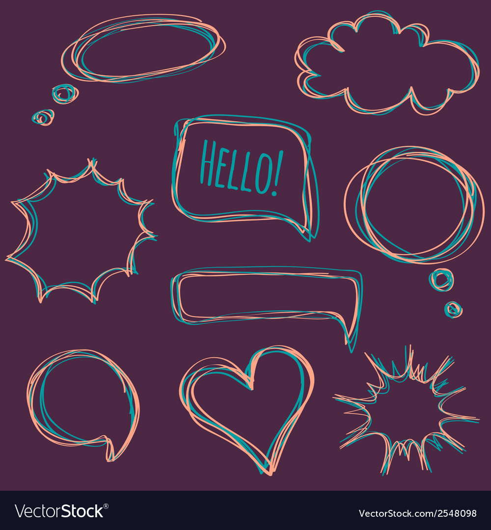 Set of hand-drawn speech bubbles vector | Price: 1 Credit (USD $1)