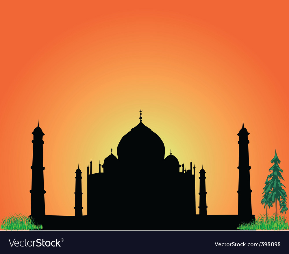 Silhouette taj mahal vector | Price: 1 Credit (USD $1)