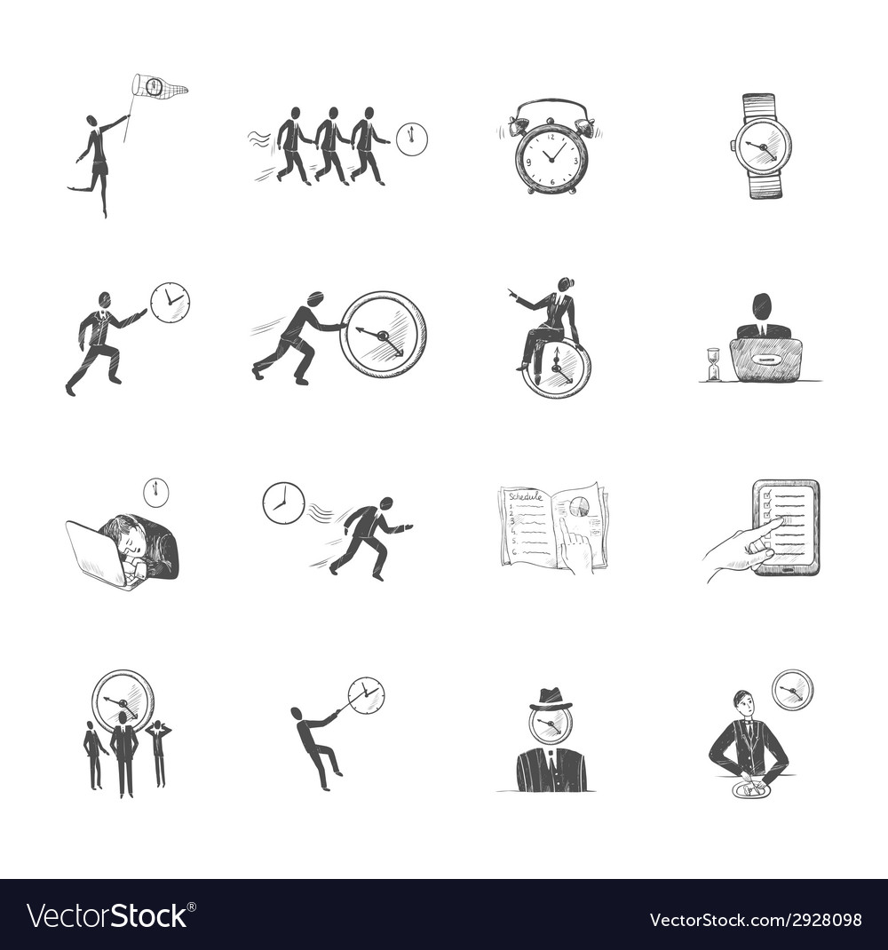 Time management icons sketch vector | Price: 1 Credit (USD $1)