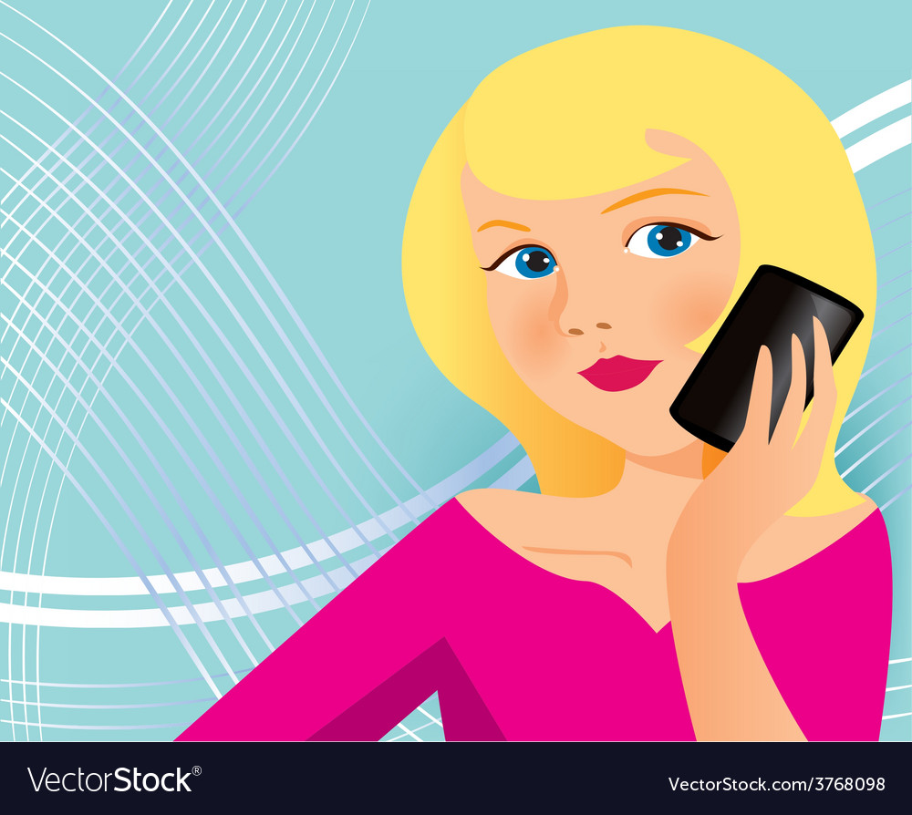 Woman with cell phone vector | Price: 1 Credit (USD $1)