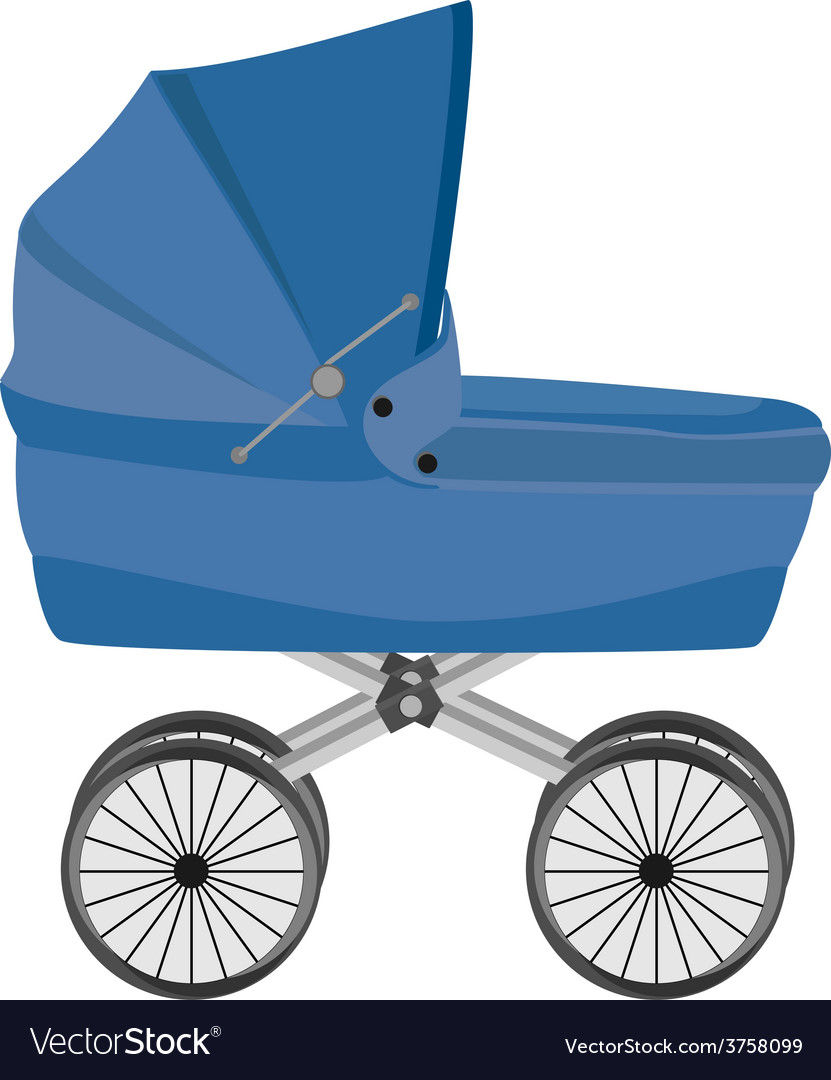 Blue baby pram vector | Price: 1 Credit (USD $1)