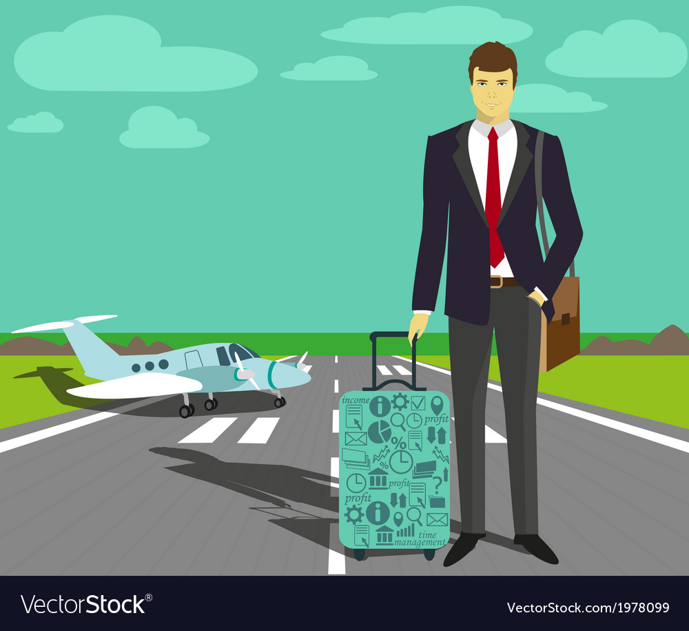 Businessman at take-off runway vector | Price: 1 Credit (USD $1)