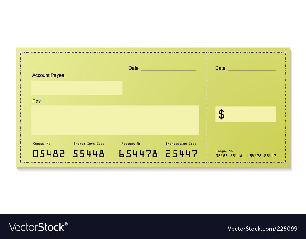 Dollar cheque vector | Price: 1 Credit (USD $1)