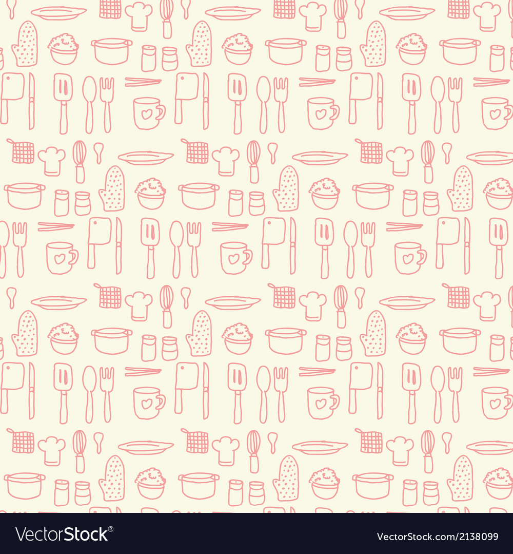 Doodle kitchen seamless pastel color background vector | Price: 1 Credit (USD $1)