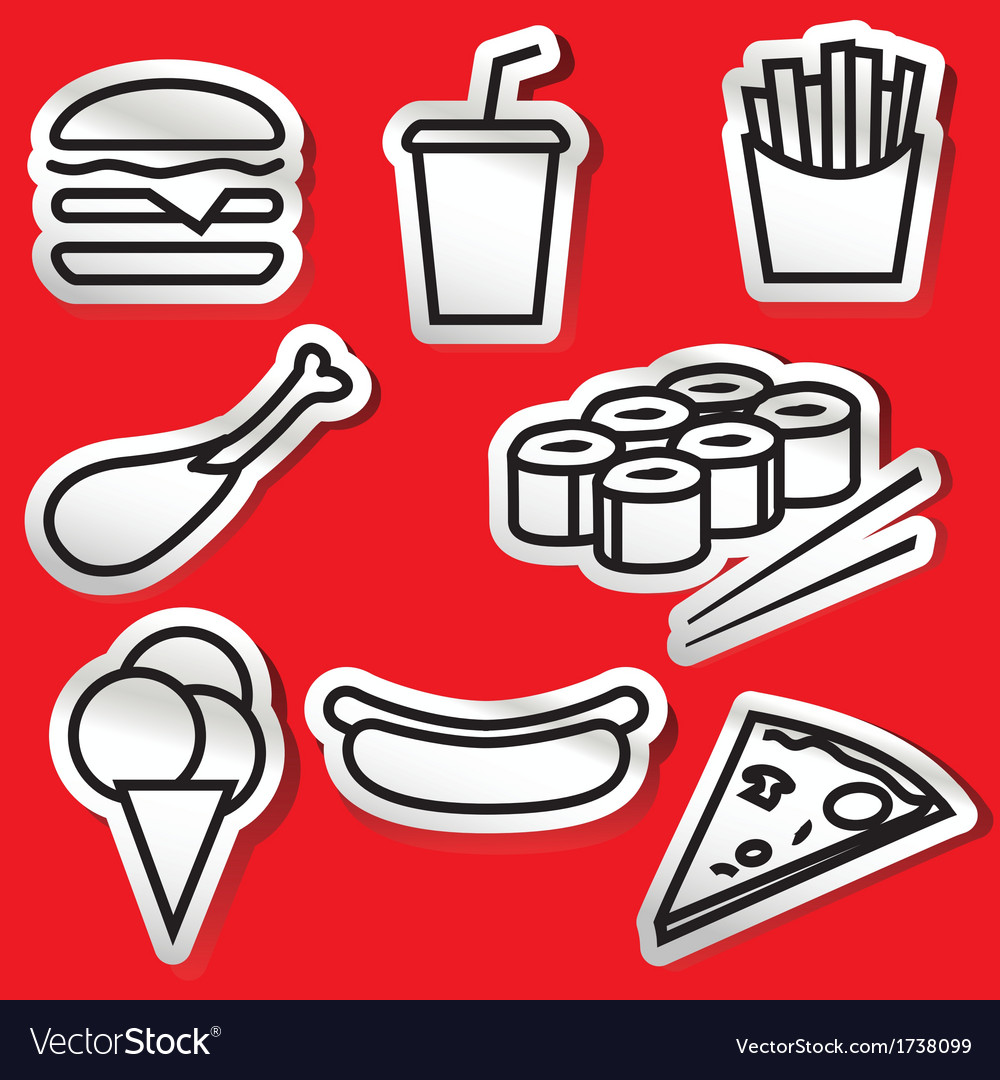 Fastfoodset stickers vector | Price: 1 Credit (USD $1)