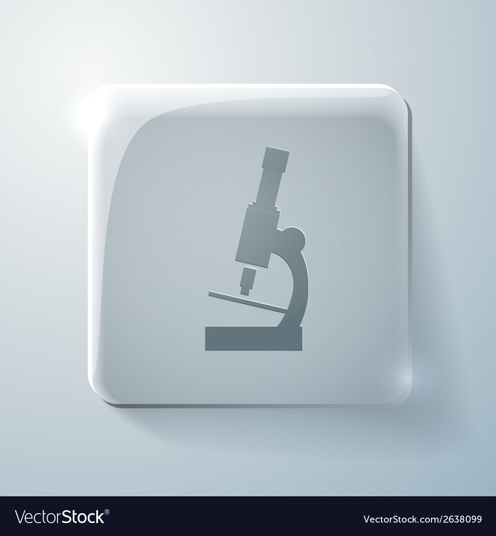 Microscope glass square icon with highlights vector | Price: 1 Credit (USD $1)