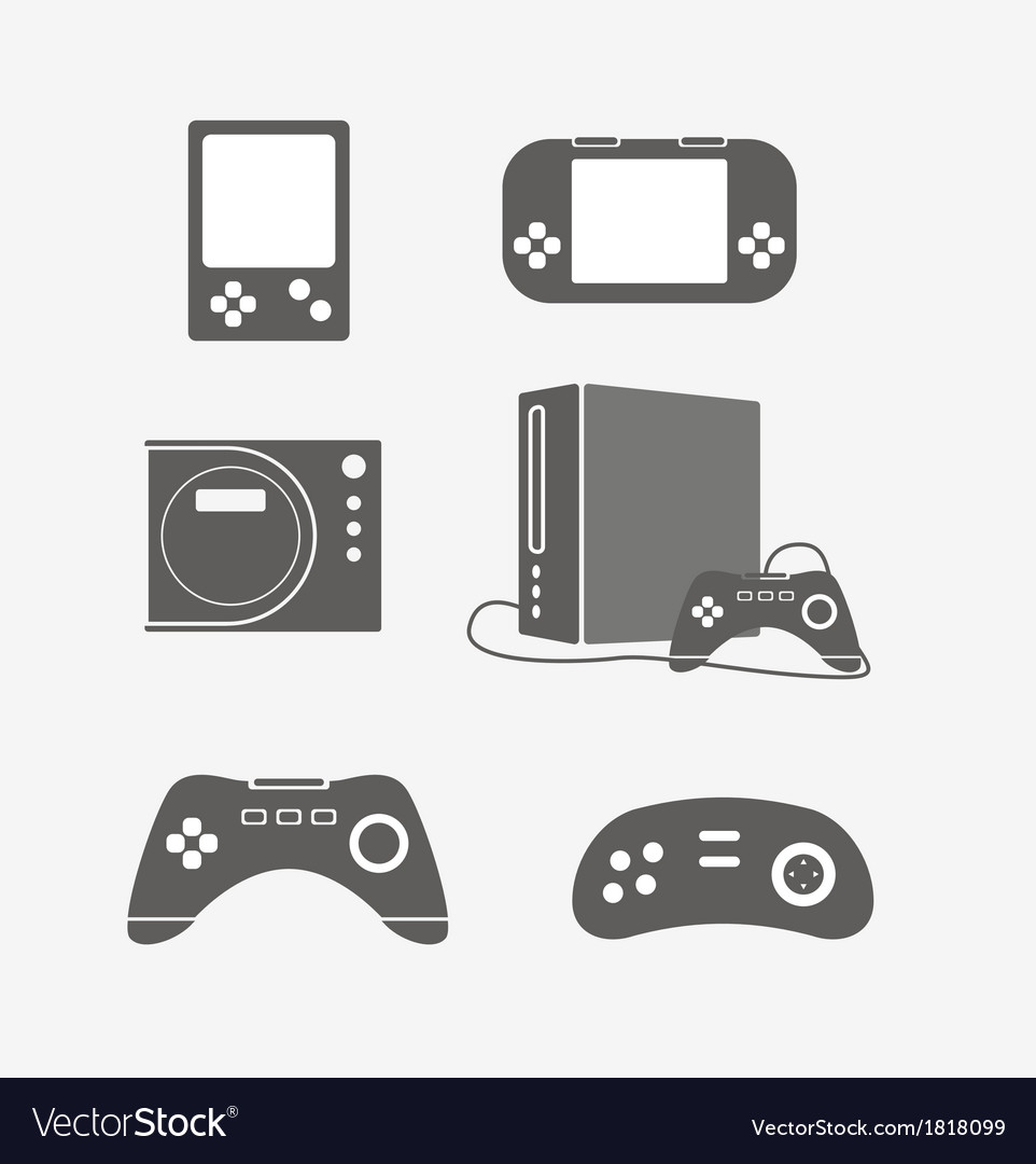 Modern portable game console silhouettes vector | Price: 1 Credit (USD $1)