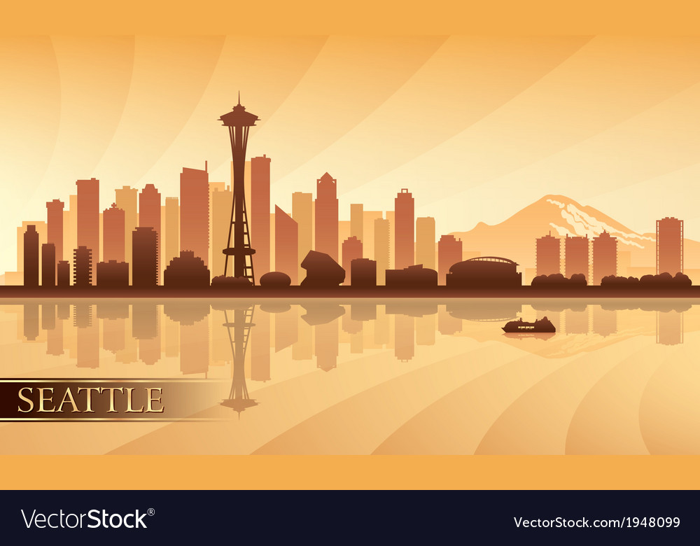 Seattle city skyline silhouette background vector | Price: 1 Credit (USD $1)