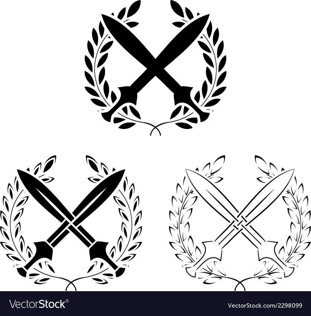 Set of crossed swords with laurel wreaths vector | Price: 1 Credit (USD $1)