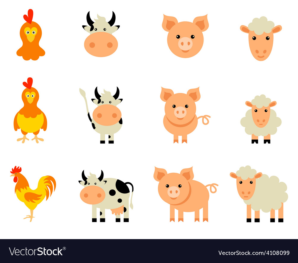 Set of isolated farm animals vector | Price: 1 Credit (USD $1)