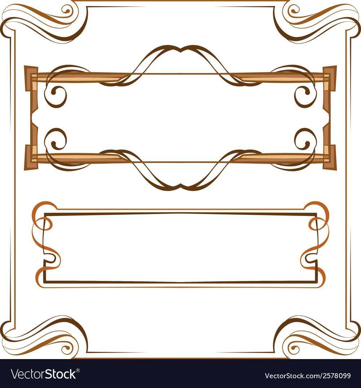 Vintage beautiful elegant frame set of elements vector | Price: 1 Credit (USD $1)