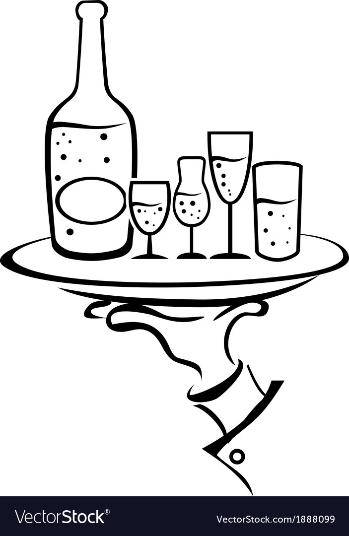 Waiter hand holds wine tray vector | Price: 1 Credit (USD $1)
