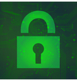 Padlock circuit over green background vector