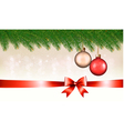 Christmas background with baubles pine branches vector