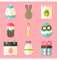 Easter icons set with shadows over pink vector