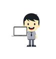 Adorable boy with laptop cartoon character vector
