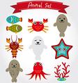 Cute sea animal set including fur seals vector