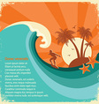 Surfer and sea big wave tropical island on old vector