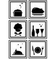 Set black restaurant icons vector