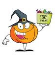 Cartoon character pumkin a bag of candy vector