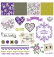 Vintage violet roses vector