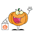 Character halloween happy pumkin bag vector