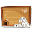 Two white dogs in front of a wooden board vector