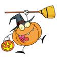 Halloween happy pumkin with a broom vector