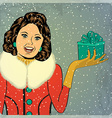 Elegant young and happy woman in winter retro vector