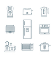 Dark outline various kitchen devices set vector