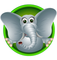 Cute elephant head cartoon vector