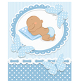 Sleeping african baby boy vector