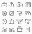 Stock and market symbol line icon set vector