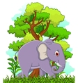 Elephant cartoon with forest background vector